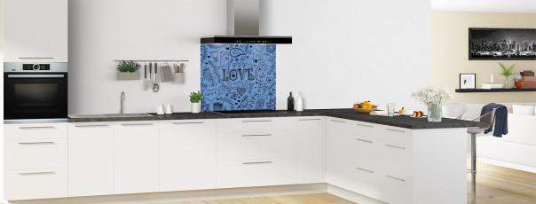 Crédence de cuisine Love illustration couleur bleu lavande fond de hotte en perspective