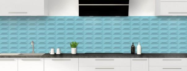 Crédence de cuisine Briques en relief couleur bleu lagon panoramique