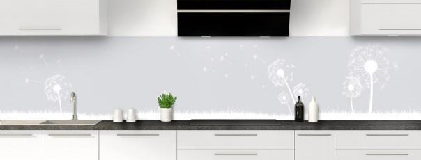 Crédence de cuisine Pissenlit au vent couleur gris clair panoramique motif inversé