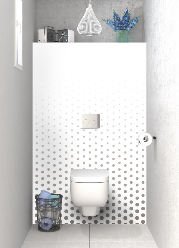 Panneau WC Pluie de points couleur taupe