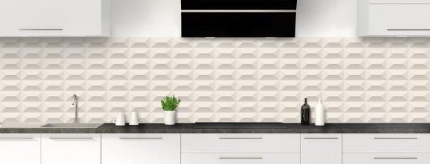 Crédence de cuisine Briques en relief couleur magnolia panoramique