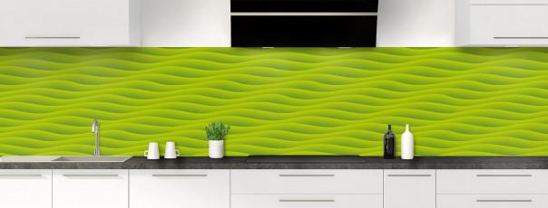 Crédence de cuisine Ondes couleur vert olive panoramique