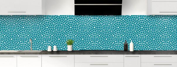 Crédence de cuisine Mosaïque cercles couleur bleu canard panoramique