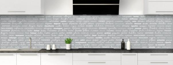 Crédence de cuisine Etapes de recette couleur gris métal panoramique
