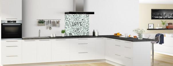 Crédence de cuisine Love illustration couleur vert eau fond de hotte en perspective