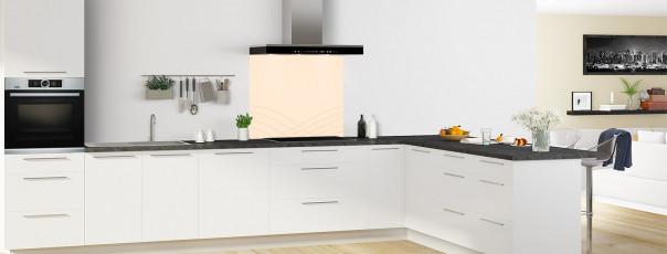 Crédence de cuisine Courbes couleur sable fond de hotte motif inversé en perspective