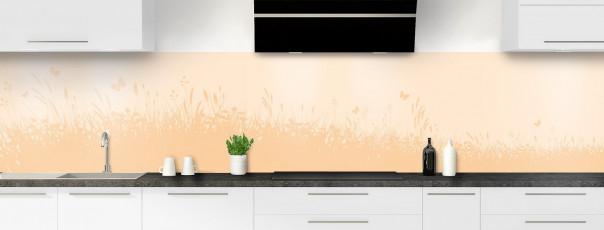 Crédence de cuisine Prairie et papillons couleur sable panoramique