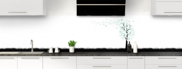 Crédence de cuisine Arbre d'amour couleur vert pastel panoramique motif inversé