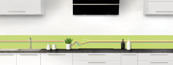 Crédence de cuisine Light painting couleur vert olive dosseret motif inversé