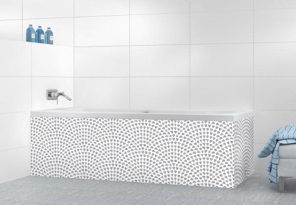 Panneau tablier de bain Mosaïque petits cœurs couleur gris métal