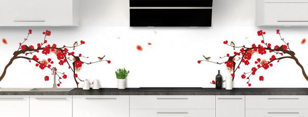 Crédence de cuisine Cerisier japonnais couleur blanc panoramique