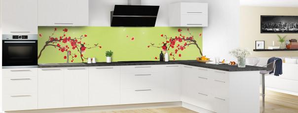 Crédence de cuisine Cerisier japonnais couleur vert olive panoramique motif inversé en perspective