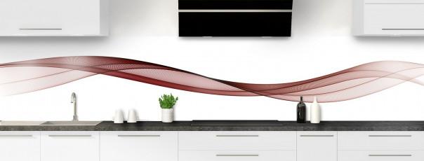 Crédence de cuisine Vague graphique couleur rouge pourpre panoramique