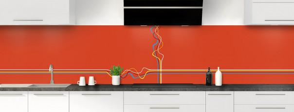 Crédence de cuisine Light painting couleur rouge brique panoramique motif inversé