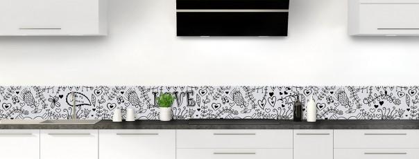 Crédence de cuisine Love illustration couleur gris clair dosseret