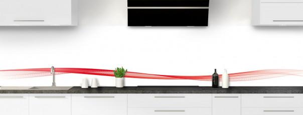 Crédence de cuisine Vague graphique couleur rouge vif dosseret