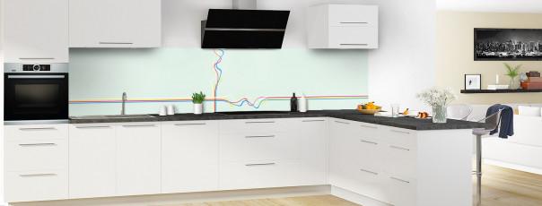 Crédence de cuisine Light painting couleur vert eau panoramique en perspective