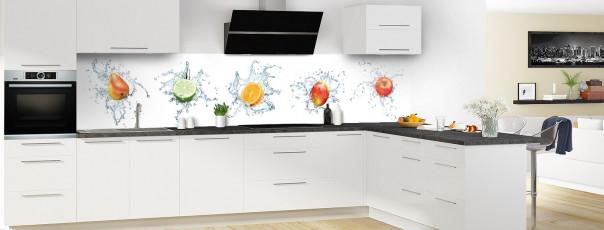Crédence de cuisine Aqua et mix de fruits panoramique en perspective