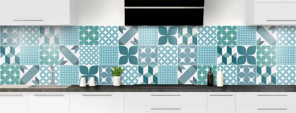 Crédence de cuisine Carreaux de ciment patchwork gris bleu panoramique