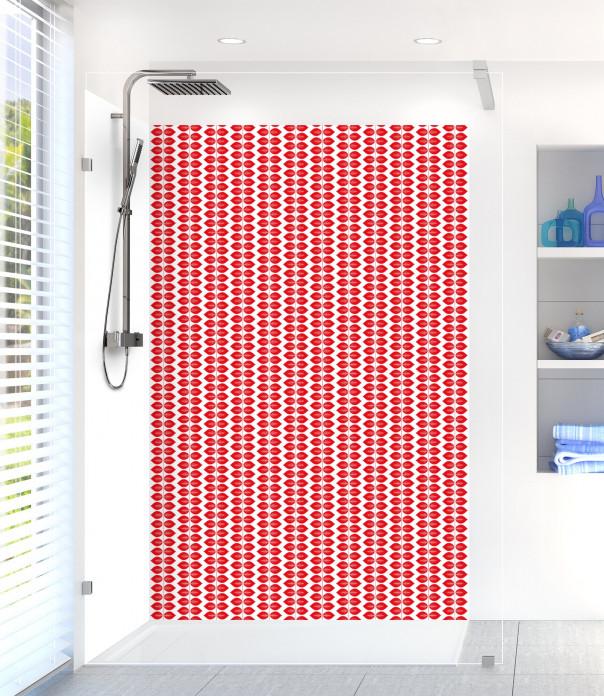 Panneau de douche Petites Feuilles  couleur rouge vif