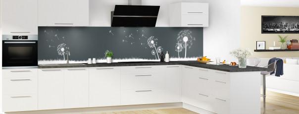 Crédence de cuisine Pissenlit au vent couleur gris carbone panoramique motif inversé en perspective