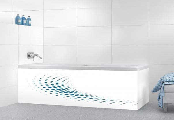 Panneau tablier de bain Nuage de points couleur bleu baltic motif inversé