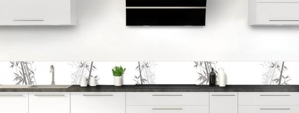 Crédence de cuisine Bambou zen couleur blanc dosseret motif inversé