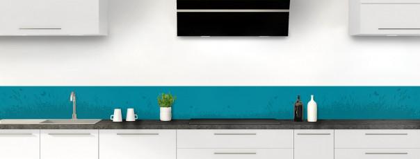 Crédence de cuisine Prairie et papillons couleur bleu canard dosseret motif inversé
