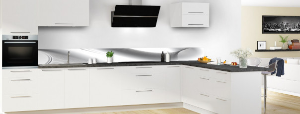 Crédence de cuisine Volute couleur blanc dosseret motif inversé en perspective
