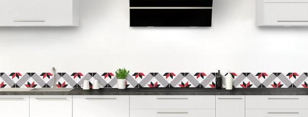 Crédence de cuisine Carreaux de ciment vintage rouge dosseret