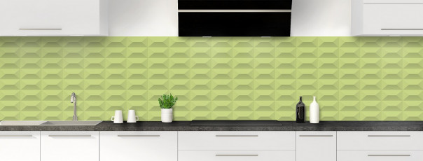Crédence de cuisine Briques en relief couleur vert olive panoramique