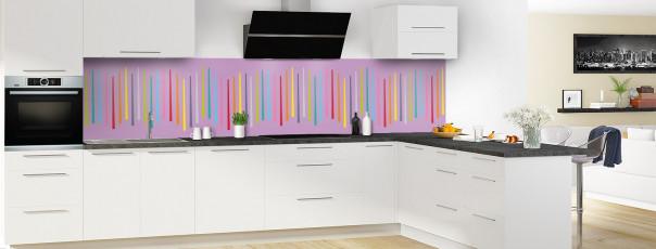 Crédence de cuisine Barres colorées couleur parme panoramique en perspective