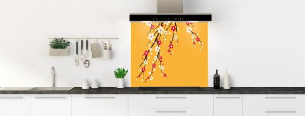 Crédence de cuisine Arbre fleuri couleur abricot fond de hotte motif inversé