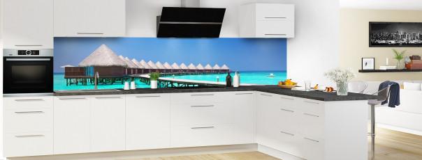 Crédence de cuisine Bungalows sur pilotis panoramique en perspective