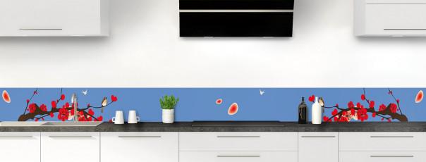 Crédence de cuisine Cerisier japonnais couleur bleu lavande dosseret motif inversé