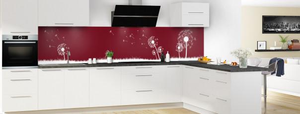 Crédence de cuisine Pissenlit au vent couleur rouge pourpre panoramique motif inversé en perspective
