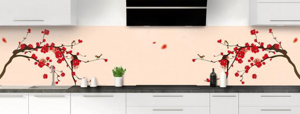 Crédence de cuisine Cerisier japonnais couleur sable panoramique motif inversé