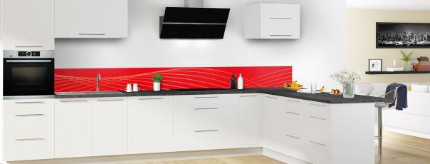 Crédence de cuisine Courbes couleur rouge vif dosseret motif inversé en perspective