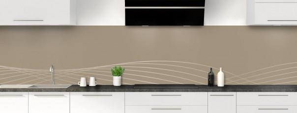 Crédence de cuisine Courbes couleur marron glacé panoramique motif inversé