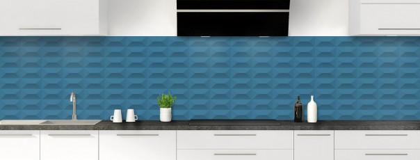 Crédence de cuisine Briques en relief couleur bleu baltic panoramique