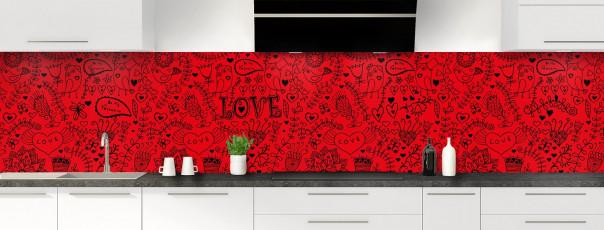 Crédence de cuisine Love illustration couleur rouge vif panoramique