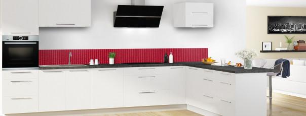 Crédence de cuisine Pointillés couleur rouge carmin dosseret en perspective