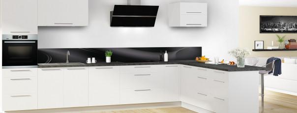 Crédence de cuisine Volute couleur noir dosseret motif inversé en perspective