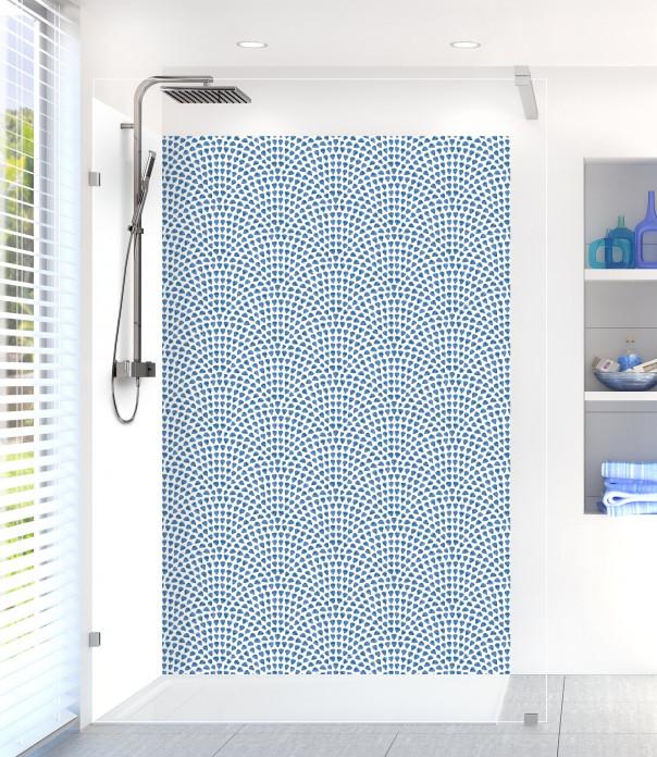 Panneau de douche Mosaïque petits cœurs couleur bleu lavande