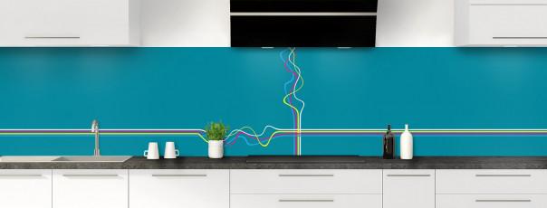 Crédence de cuisine Light painting couleur bleu canard panoramique motif inversé