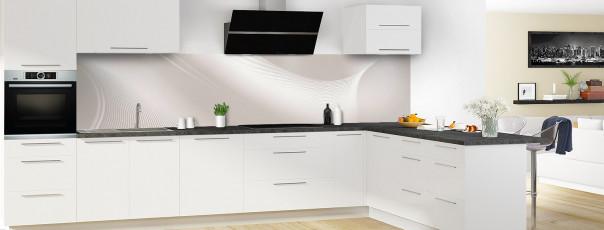 Crédence de cuisine Volute couleur argile panoramique motif inversé en perspective