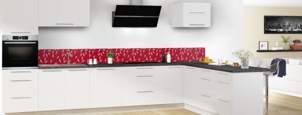 Crédence de cuisine Rideau de feuilles couleur rouge carmin dosseret en perspective