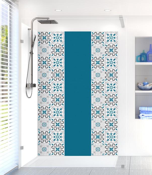 Panneau de douche Carreaux de ciment riad Bleu listel extérieur