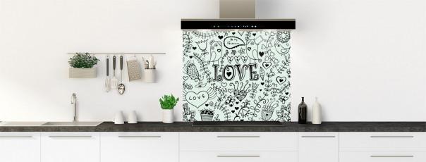 Crédence de cuisine Love illustration couleur vert eau fond de hotte