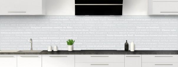 Crédence de cuisine Recettes de cuisine couleur gris clair panoramique